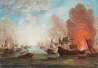 two naval battle scenes (2 works) by anonymous-british (18)