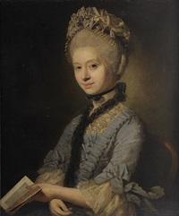 portrait of a lady half length, seated, wearing a blue dress with lace trimmings and holding a book by johann joseph zoffany