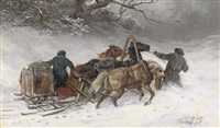 troica riders in a blizzard by iakov dmitrievich andreev
