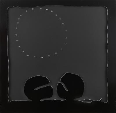 concetto spaziale teatrino nero by lucio fontana