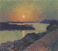 sonnenuntergang vor einem seeufer, im hintergrund gebirge by mirko racki