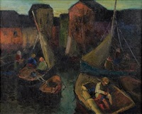 fishing boats and sailors by arturo pacheco altamirano