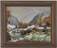 rivière en montagne, l'hiver by angelo abrate