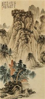 青绿山水 立轴 设色纸本 by zhang daqian