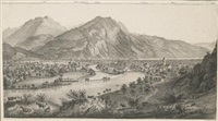 panorama de interlaken et unterseen prise de la goldeg (on 2 sheets) by rudolf huber