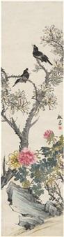 花木鸣禽图 by deng tiexian