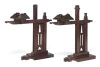 cresset candlesticks (pair) by charles rohlfs
