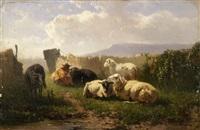 kühe auf der weide vor einem seeufer (+ schafe vor dem gatter; pair) by johannes hubertus leonardus de haas
