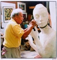 concentration (enrique alferez sculpting the lute player) by joseph mcdonnell
