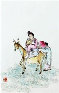 粉彩人物瓷板 by liu xiren
