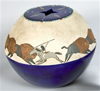 buffalo hunt pot by randall blaze