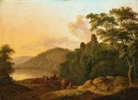 bewaldete landschaft mit hirten und vieh (+ another; 2 works) by friedrich rauscher