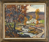 fall wooded scene with stream, bridge and houses by maria veronica liszt