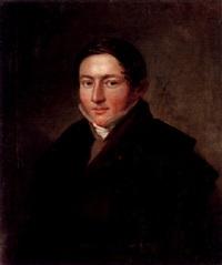porträtt av fabrikör wilhelm leopold garberg klädd i brun rock och grön slängkappa by per krafft the younger