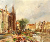 blumenmarkt in krakau by adolf vogel