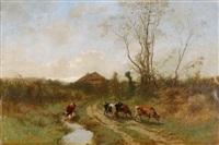 landschaft mit bauernhof und kühen by gustave eugène castan