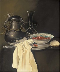 a pewter jug, glass vase and bowl of cherries by paul karslake