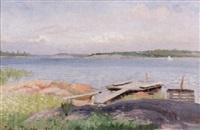 sommarlandskap med brygga och segelbåt by julia charlotte mortana strömberg