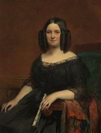 portrait einer dame in schwarzer krinoline, mit zapfenlocken und in ihrer linken einen fächer haltend by joseph henri françois van lerius