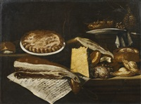still life with ham, cheese and oysters by bartolomeo arbotori