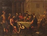 maría magdalena y cristo en la casa de simón, el fariseo by matías arteaga y alfaro