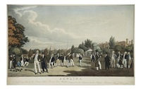 bowling, north east view of the sarecens head bowling green, worcester (aquatint by j. gleadah) by james clements