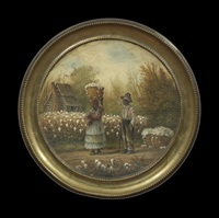 couple in front of a cotton field by william aiken walker