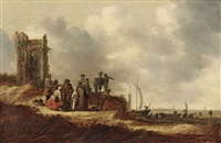 coastal landscape with an old tower by jan josefsz van goyen