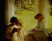 children seated near a window reading a book by garnet ruskin wolseley