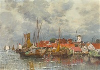 hafenszene mit fischerbooten und malerischem städtchen mit windmühle by karl heffner