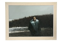man in winter beach dunes by william thompson