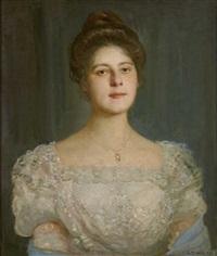 portrait einer jungen dame im weißen spitzenkleid by georg tyrahn