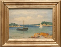 cove with boats by henry hammond ahl