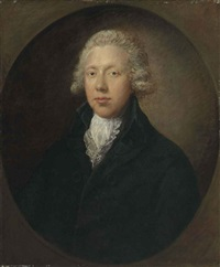 portrait of a gentleman, traditionally identified as samuel kilderbee, in a black coat and white lace collar by gainsborough dupont