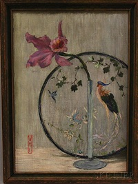 still life with orchid and embroidery by william horace littlefield