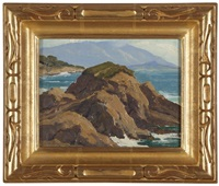pebble beach, rocky coastline by arthur hill gilbert