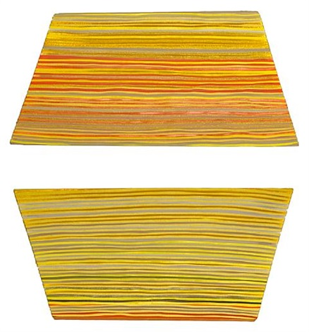yellow grey diptych by jen pack