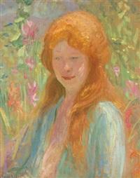 portrait of a young girl in a garden by robert reid