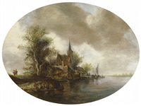 river landscape with church and ferry boat by frans de hulst