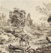 landscape with horseman by balthasar anton dunker