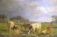 cows in a meadow by willem tjarda van starkenborgh stackouwer