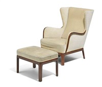 high-back easy chair and matching stool with profiled edges (pair) by frits henningsen