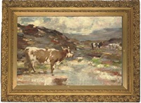 cattle in a highland landscape by andrew douglas