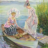 zwei damen besteigen einen nachen. uferstück am starnberger see by edward cucuel