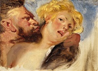 satyr and nympf (after peter paul rubens) by eugène delacroix