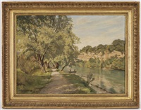 barque sur la rivière, paysage de campagne by jules gaud