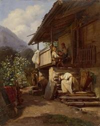 vor einem bauernhaus eine auf den stufen ruhende junge frau und drei kinder by william moritz
