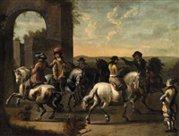 southern landscape with riders by pieter van bloemen