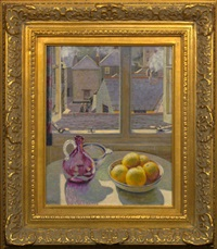 still life with lemons, rooftops beyond by m. m. e. richey