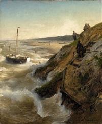 a dutch coastal landscape by andreas achenbach